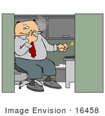 #16458 Male Employee Smoking A Cigarette In His Cubicle At Work Clipart