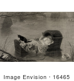 #16465 Picture Of A Baby And Cat In A Cradle Floating On Water During A Flood