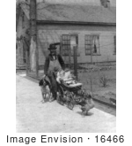 #16466 Picture Of A Goose Pulling A Baby Stroller And A Man Walking A Dog