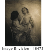 #16473 Picture Of A Mother And Child In Sepia Tone