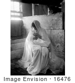 #16476 Picture of a Young Mother in a Manger, Holding Her Baby by JVPD