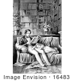 #16483 Picture Of A Father Reading In A Library His Daughter Sleeping At His Side