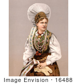#16488 Picture of a Beautiful Young Woman in Traditional Clothes, Carniola, Austro-Hungary by JVPD
