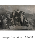 #16490 Picture of Pilgrims Landing in America in 1620 by JVPD