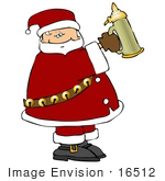#16512 Santa Claus Holding A Beer Stein Clipart