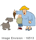 #16513 Woman And Boy Feeding A Dog A Chicken Leg Drumstick Clipart