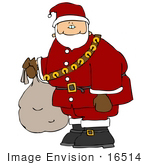 #16514 Saint Nicholas In Full Costume Carrying A Sack Clipart