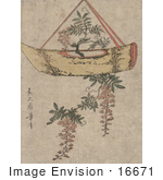 #16671 Picture Of A Wisteria Plant Growing In A Hanging Pot Shaped Like A Boat