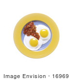 #16969 Picture of Two Sunny Side Up Fried Eggs With Salsa Breakfast by JVPD