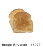 #16975 Picture of Plain and Toasted White Bread Slices Stacked on a White Background by JVPD