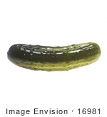 #16981 Picture of One Whole Pickled Cucumber With Dark Green Flesh by JVPD