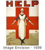#1699 Picture of a Nurse and Cross on an Australian Red Cross Society Poster by JVPD