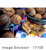 #17105 Picture Of Two Baskets Of Muffins One Split Muffin In The Foreground