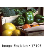 #17106 Picture Of Broccoli Green Bell Peppers Grapefruits And Oranges With Wooden Crates