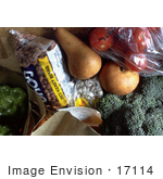 #17114 Picture Of Overflowing Filled Paper Grocery Bags With Tomatoes Pears Broccoli Kidney Beans And Bell Peppers