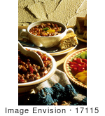 #17115 Picture Of A Vegetarian Chili Meal With Cornbread Slices And A Side Of Peppers