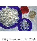 #17120 Picture Of Plain White Popcorn In Blue Glass Bowls Glass Of Lemon Tea Cinnamon Stick And A Red Poppy
