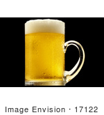 #17122 Picture of One Full, Cold, Frothy, Clear Glass Mug of Golden Beer With a White Froth by JVPD