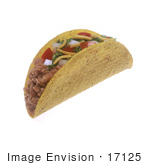 #17125 Picture Of One Whole Taco With Meat Cheese Tomatoes Onions And Lettuce