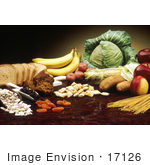 #17126 Picture Of A Still Life Of Fruits Vegetables Breads Grains And Noodles