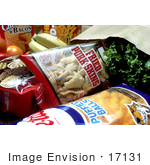 #17131 Picture Of Paper Grocery Bags Stuffed With Junk Foods Like Pork Rinds Cheetos Crackers As Well As Bananas And Oranges