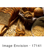 #17141 Picture of Sliced Wheat Bread, Wheat Rolls, and Grains by JVPD