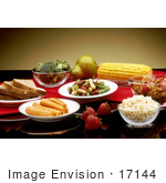 #17144 Picture Of Wheat Bread Carrots Strawberries Beans Rice Cereal Corn Pear And Broccoli