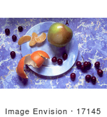 #17145 Picture Of An Apple Curly Orange Peel 3 Orange Slices And Purple Grapes On A Plate