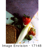 #17148 Picture Of Two Slices Of Wheat Bread Chinese Cabbage Strawberry Grapes And Brussels Sprouts