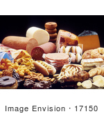 #17150 Picture Of Foods High In Fat; Chips Donuts Chocolates Meats Cheeses And French Fries
