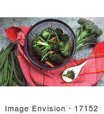 #17152 Picture Of Shredded Carrots Broccoli And Green Beans In A Collander