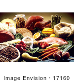 #17160 Picture Of Food Still Life With Poultry Meat Seafood Breads Beans Veggies And Fruits