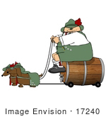 #17240 Caucasian Oktoberfest Man On A Beer Keg Wagon Being Pulled By Two Dashund Dogs Clipart