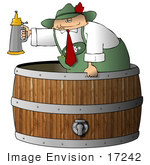 #17242 Caucasian Oktoberfest Man In A Barrel Beer Keg Holding A Beer Stein Clipart
