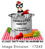 #17245 Chicken In A Mask Inside A Soup Stock Pot On A Table Clipart