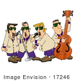 #17246 Men'S 1950'S With Three Vocalists Singing Into Microphones And A Double Bass Player Performing On Stage Clipart