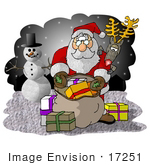 #17251 Santa Claus With A Sack Of Christmas Presents Rudolph The Red Nosed Reindeer And Frosty The Snowman Clipart