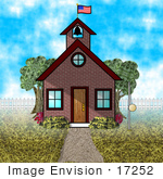 #17252 One Room Schoolhouse With A Bell Tower American Flag And Tether Ball Pole Clipart