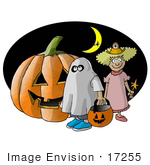 #17255 Two Halloween Trick-Or-Treaters A Ghost And Fairy Standing Under A Crescent Moon By A Jack-O-Lantern Clipart