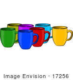 #17256 Group Of Different Colored Coffee Mugs Clipart