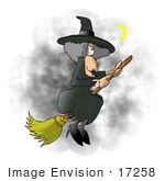 #17258 Gray Haired Female Halloween Witch Flying On Her Broom Stick In A Night Sky By A Crescent Moon Clipart