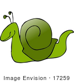 #17259 One Snail With A Dark Green Shell And Lighter Green Flesh Clipart