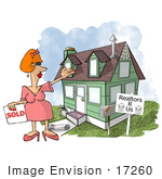 #17260 Middle Aged Caucasian Realtor Woman Standing In Front Of A House She Sold Clipart