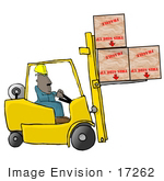 #17262 African American Forklift Operator Lifting Three Large Boxes Clipart