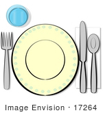 #17264 Table Place Setting With a Cup, Fork, Plate, Knife, Spoon and Napkin Clipart by DJArt