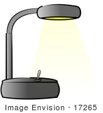 #17265 Gray Desk Lamp Turned On Clipart