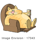 #17343 Chubby Lazy Orange Cat Drinking And Sitting With His Feet Up In A Lazy Chair Clipart