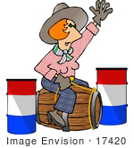 #17420 Red Haired Cowgirl Woman Riding A Woodel Barrel Instead Of A Horse Clipart