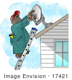 #17421 Man Installing A Satellite Dish On A House Roof Clipart