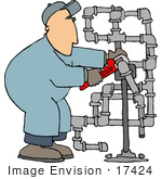 #17424 Man Fitting Pipes With A Pipe Wrench Clipart